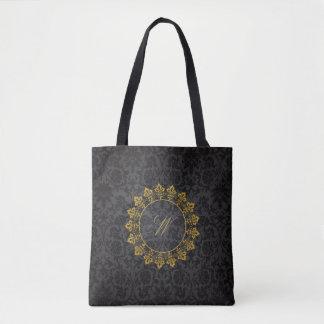 Bolso De Tela Monograma adornado del círculo en el damasco negro