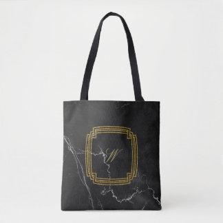 Bolso De Tela Monograma cuadrado simple en el mármol negro