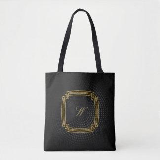 Bolso De Tela Monograma cuadrado simple en la circular negra