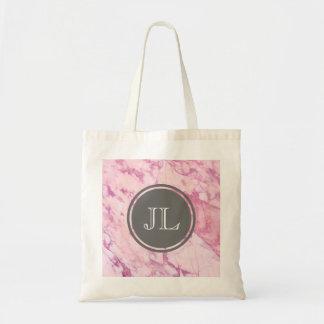 Bolso De Tela Monograma de mármol rosado con adorno gris del