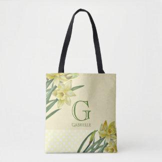 Bolso De Tela Monograma del retrato de la flor de los narcisos