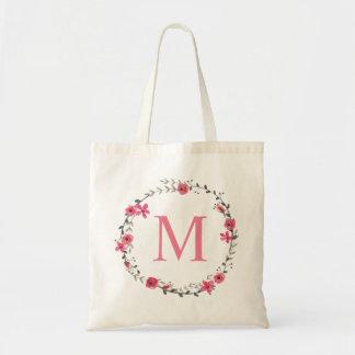 Bolso De Tela Monograma floral rosado caprichoso de la guirnalda