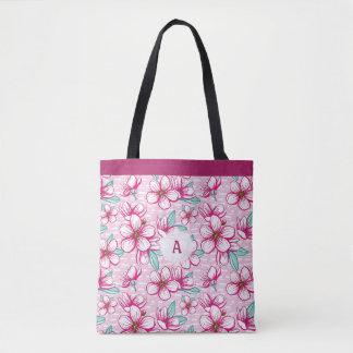 Bolso De Tela Monograma rosado bonito de la flor de cerezo