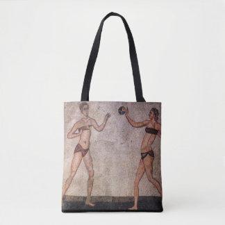 Bolso De Tela Mosaico antiguo divertido del voleibol de playa