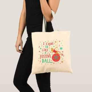 Bolso De Tela Mujer retra del navidad divertido en bola festiva