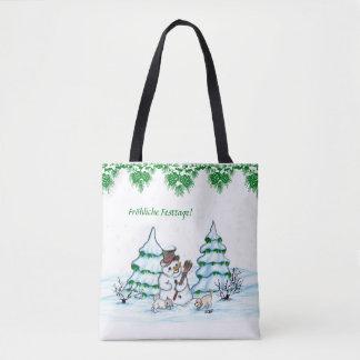 Bolso De Tela Muñeco de nieve con gato y cachorro de perro en