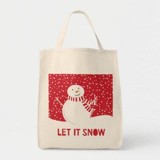 Bolso De Tela muñeco de nieve rojo y blanco contemporáneo