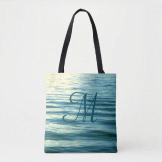 Bolso De Tela Náutico con monograma del mar iluminado por la