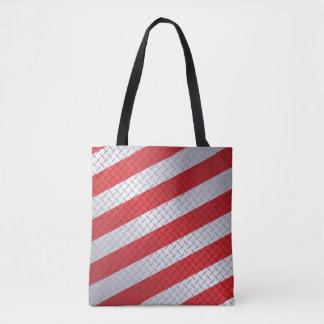 Bolso De Tela Navidad Diamondplate con las rayas rojas