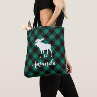 Bolso De Tela Navidad verde del modelo de la tela escocesa de
