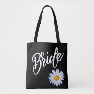 Bolso De Tela Negro con la novia de la margarita blanca