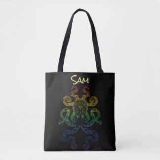 Bolso De Tela Negro floral del orgullo del arco iris del arte