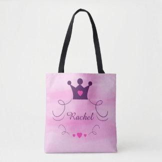 Bolso De Tela Niña rosada de princesa Crown Tiara Hearts Purple