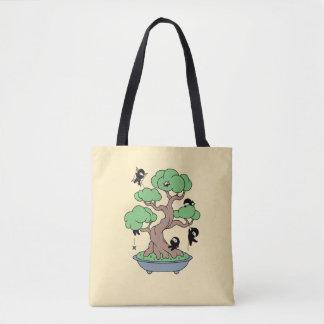 Bolso De Tela Ninjas minúsculo en árbol de los bonsais en