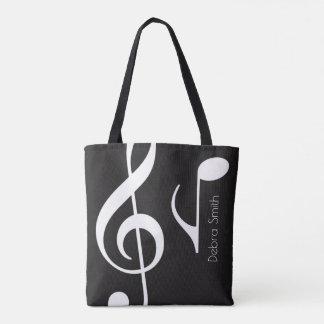 Bolso De Tela nombre con el negro de las notas musicales