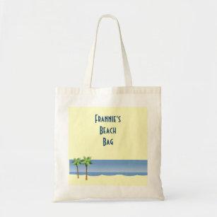 Bolso De Tela Nombre del personalizado de la escena de la playa