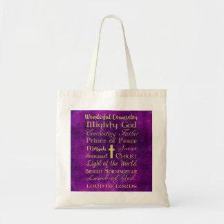 Bolso De Tela Nombres del tote de la púrpura de Jesús