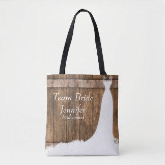 Bolso De Tela Novia del equipo en estilo de madera rústico