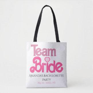Bolso De Tela Novia rosada personalizada del equipo