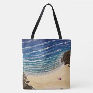 Bolso De Tela Nuestra opinión superior de la playa