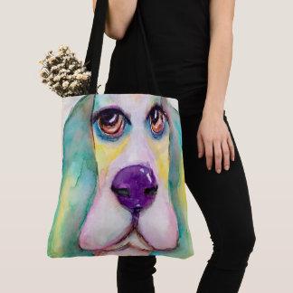 Bolso De Tela Ojos grandes de la acuarela del perro colorido de