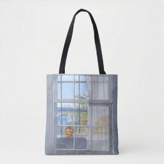 Bolso De Tela Opinión de la ventana de la cabaña de Monhegan