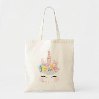 Bolso De Tela Oro floral femenino del rosa del unicornio