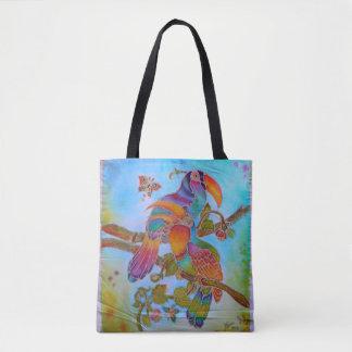 Bolso De Tela Pájaros del batik - 2 en 1 frente del estilo del
