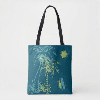 Bolso De Tela Palmera Sun de la playa del paraíso y trullo verde