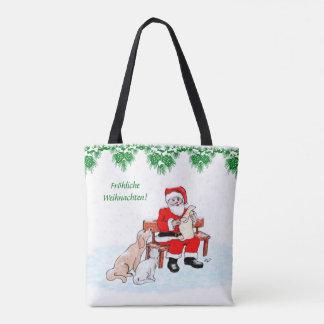 Bolso De Tela Papá noel con perro y gato en alemán