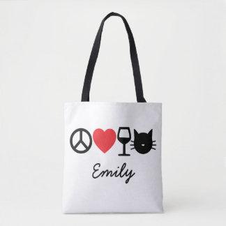 Bolso De Tela Paz, amor, vino y gatos