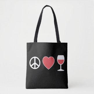 Bolso De Tela Paz y amor y vino