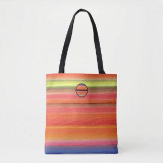 Bolso De Tela Pendiente del color de la raya del arco iris,