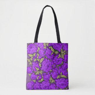 Bolso De Tela Peonies púrpuras con las hojas del oro