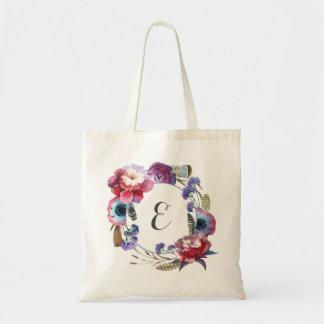 Bolso De Tela Peony del Wildflower floral con el monograma de