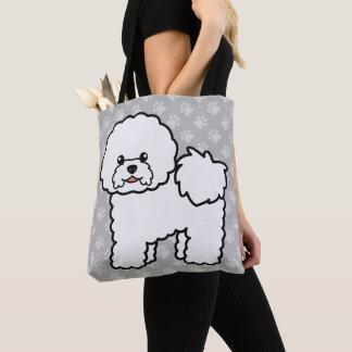Bolso De Tela Perro blanco lindo del dibujo animado de Bichon