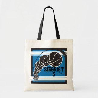 Bolso De Tela Personalice el baloncesto azul
