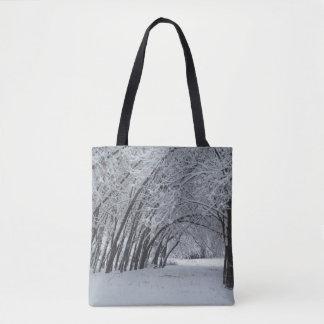 Bolso De Tela Personalizado del paisaje del invierno todo encima