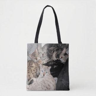 Bolso De Tela Pila del gatito del gato de Bengala