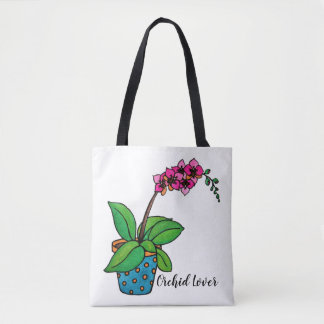 Bolso De Tela Planta de la orquídea de la acuarela en pote