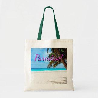 Bolso De Tela Playa blanca de la arena, palmera, texto del