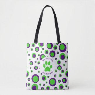 Bolso De Tela Polkadots [púrpura y verde]