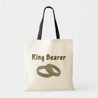 Bolso De Tela Portador de anillo con los anillos de oro