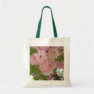 Bolso De Tela Primavera rosada floreciente doble del cerezo II