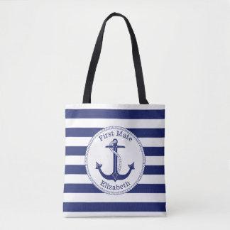 Bolso De Tela Primer compañero de los azules marinos náuticos