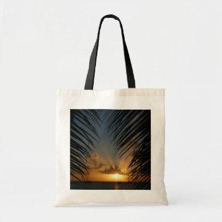 Bolso De Tela Puesta del sol con paisaje marino tropical de las
