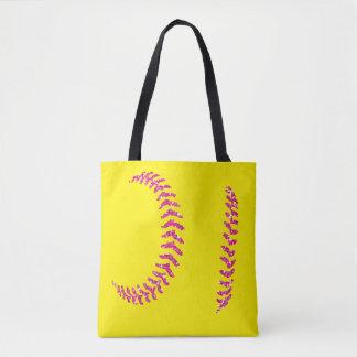 Bolso De Tela Puntadas rosadas del softball del brillo