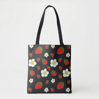 Bolso De Tela Puntos rojos de la fresa en negro