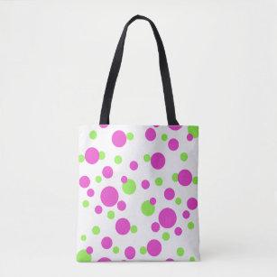 d569dc5af Bolso De Tela Puntos rosados y verdes en blanco -