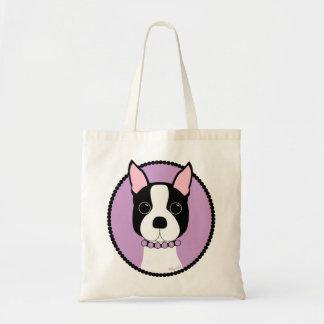 Bolso De Tela Púrpura de Boston Terrier